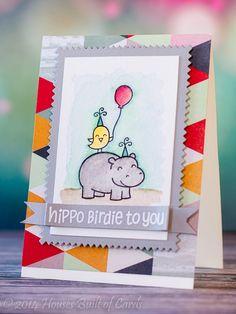 Hippo Birdie Watercolor