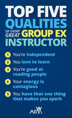 Have you been thinking about becoming a group fitness instructor but aren't sure if you'd be good at it? Here's AFAA's top 5 list of the most important qualities of great group exercise instructors. Do you have what it takes?