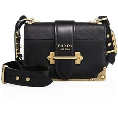 Prada Cahier Notebook Leather Shoulder Bag (€2.635) ❤ liked on Polyvore featuring bags, handbags, shoulder bags, black, apparel & accessories, colorblock handbags, leather shoulder bag, leather handbags, color block handbags and real leather purses