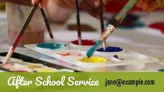 A creative babysitter ads video template. After school services. A creative background of paint.
