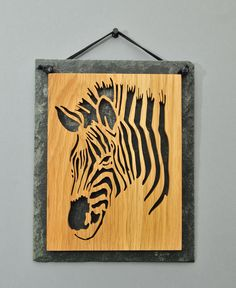 Scrollsaw Oak Zebra Head Mounted On Slate