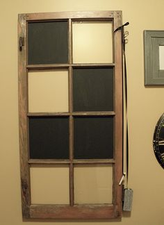 Old windows covered with chalkboard paint