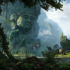 Does it not make you wish we could actually go and see this? Unexplored Ruins- 06 ( Buddha ) By RENJU MV #Fantasy #Forest #Jungle #Elephant #Wild #Enviroment #Ruins #ConceptArt #Art #Illustration #Scifi #Digital #2d #World #Earth #Painting #Drawing