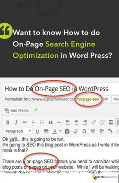 New Blog Post: Want to know how to do On-Page SEO in Word Press? Definitely something good to know. | DigitalMarketer.com