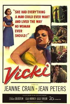 "Fox's 1953 Vicki is an inferior remake of the 1941 classic ""I Wake Up Screaming."" However Jeanne Crain and Jean Peters give stellar performances."
