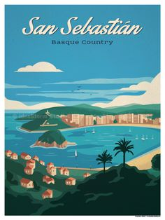 Vintage Travel Image of San Sebastian Poster - Browse all products in the Travel Posters - European Capitals category from IdeaStorm Studio Store. Poster Vintage, Vintage Travel Posters, Vintage Ski, Vintage Room, Virgin Islands National Park, Illustrations Vintage, London Poster, Venice Travel, Beach Posters