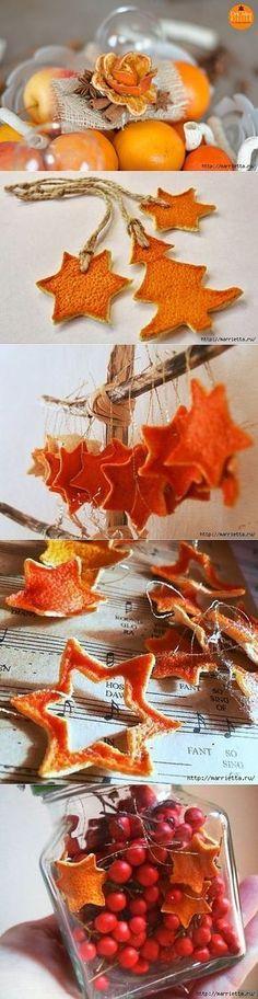 Розочки и подвески из апельсиновых и мандариновых корок.