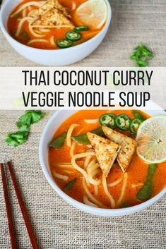 Thai Coconut Curry Veggie Noodle Soup - This deliciously spicy and sweet Thai Coconut Curry Veggie Noodle soup is perfect for the cold winter days that lie ahead of us. #Fortune #ChefYaki