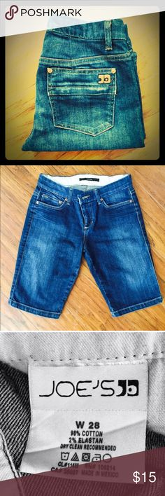 """Joes Jeans Bermuda Shorts These shorts hit right @ the knee on me. I'm 5'2""""(nvr get the ft & inches symbols rt)🤦🏻♀️! They're perfect for Spring & ive actually seen them w/ tights under in Winter & were totally cute! Have my daughter helping me out now to get 📦 on time when I'm sick& cant run to post. 🏀season is over! Fit is slim. No trades, No PP. plz, NO LOWBALL'S! Questions? I'm happy to answer any. TY for looking @ my listings! Joe's Jeans Shorts Bermudas"""
