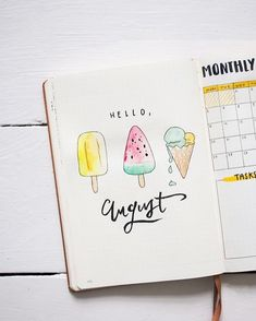 Bullet Journal Setup August Bullet Journal Setup August – Ice-cream Theme & Coverpage More from my site bullet journal setup! Plan with me: Bullet Journal Setup January 2019 An August overview by ig Bullet Journal August, Bullet Journal Cover Ideas, Bullet Journal Themes, Bullet Journal Spread, Journal Covers, Bullet Journal Inspiration, Journal Pages, Bullet Journals, Journal Ideas