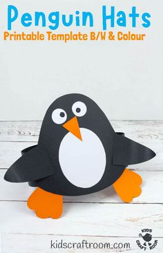 How adorable is this Paper Penguin Hat Craft? So cute and easy to make with the printable template (B/W and colour). Great as a Winter craft, or for World Penguin Day and Polar Study Units. Such an adorable penguin craft for kids. #kidscraftroom #kidscrafts #penguins #penguincrafts #wintercrafts #worldpenguinday Winter Crafts For Kids, Paper Crafts For Kids, Crafts For Kids To Make, Craft Activities, Preschool Activities, Diy Paper, Craft Kids, Winter Ideas, Penguin Day