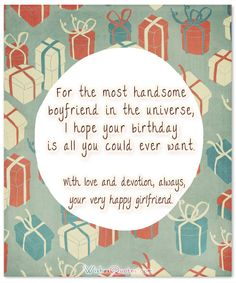 Cute Birthday Wishes for your Charming Boyfriend – By WishesQuotes Romantic Happy Birthday Wishes for your Boyfriend or your Husband & Sweet SMS Text Messages for Him Sweet Messages For Boyfriend, Happy Birthday Boyfriend Message, Sweet Birthday Messages, Happy Birthday Quotes For Him, Birthday Greetings For Boyfriend, Birthday Message For Boyfriend, Romantic Birthday Wishes, Cute Birthday Wishes, Birthday Wish For Husband