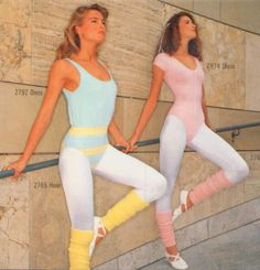 "so-shiny: "" Two different aerobic outfit in pastel colors: Leotards, leggings with leg warmers and ballet shoes. 80s Workout Clothes, 80s Workout Costume, Workout Outfits, 80s Fashion, Sport Fashion, Fitness Fashion, Fashion Outfits, Style Fashion, Fashion Ideas"