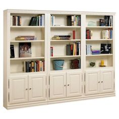 Showcasing bottom cabinets and open shelving, this handcrafted oak wood bookcase is perfect for displaying leather tomes and treasured travel heirlooms. Ikea Bookcase With Doors, Bookcase Wall, Etagere Bookcase, Bookshelves, Bookcase Storage, Sauder Bookcase, Hemnes Bookcase, Glass Bookcase, Bookcase Styling