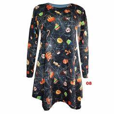 Women Halloween Print Long Sleeve Tunic Dress