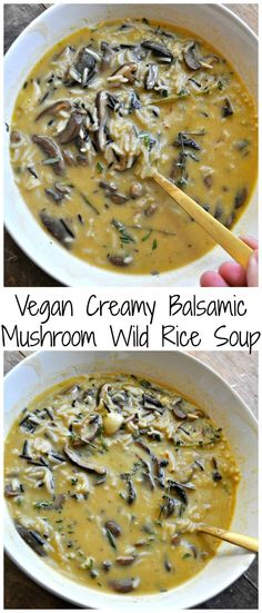 Nov 2, 2019 - One pot and vegan! This creamy balsamic mushroom wild rice soup is to die for! This is the most amazing, easy, comfort food ever! Delicious Vegan Recipes, Vegetarian Recipes, Vegan Meals, Healthy Recipes, Balsamic Mushrooms, Wildly Delicious, Wild Rice Soup, Mushroom Soup, Healthy Foods To Eat