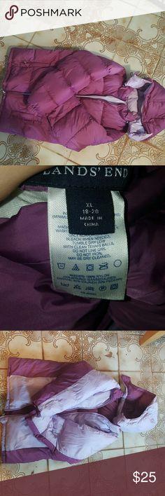 Purple reverseable jacket Purple reverseable jackey puffy like new worn like 4 times ever Lands' End Jackets & Coats