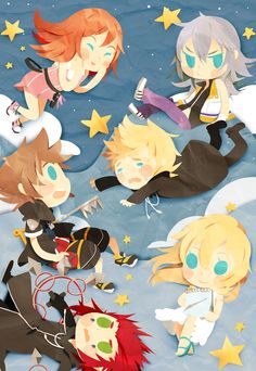 Sora, Kairi, Riku, Roxas, Axel, Namine - Kingdom hearts II