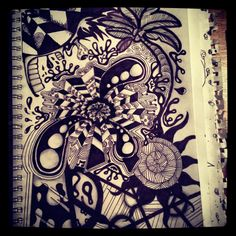 My first zentangle that's actually detailed complete! It only took me 8 non stop hours O_o haha :) so proud of it.