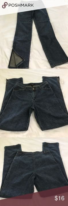 Company Ellen Tracy jeans 6 Company Ellen Tracy light weight high waisted jeans size 6 EUC rise 10 inseam 31 waist when stretched a little is 16 across hem is 7.5 across the pants are a stretch light weight denim and they have cute split at the bottom side of hem shown in picture Ellen Tracy Jeans Straight Leg