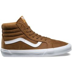 Vans Premium Leather SK8-Hi Reissue (1.200 ARS) ❤ liked on Polyvore featuring men's fashion, men's shoes, men's sneakers, tan, mens tan leather shoes, vans mens shoes, mens leather shoes, mens cap toe shoes and vintage mens sneakers
