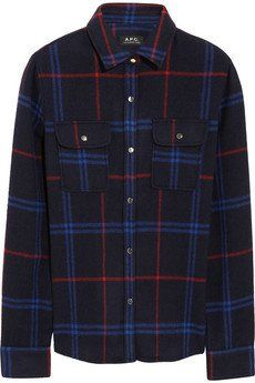 Pin for Later: Shopping: Et Si On Se Mettait Au Tartan? A.P.C Chemise en feutre de laine mélangée à motif tartan (180€)