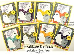 Gratitude for days kit from Stampin Up! turned in to Halloween cards with ghost and tombstone by Patty Bennett (Founder's Circle Swap) #stampinup #halloween