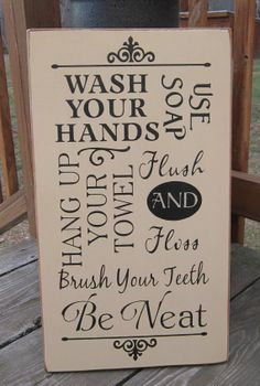 Primitive Wood Sign  Bathroom Rules Wash by BedlamCountryCrafts, $40.00