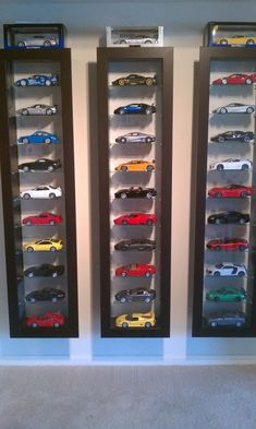 A display case presents the inner-self of the creator. With a look at the display case, you can know the person inside. There are DIY display case ideas. Hot Wheels Storage, Hot Wheels Display, Car Storage, Kids Storage, Book Storage, Ikea Storage Boxes, Ikea Shelves, Table Shelves, Toy Display