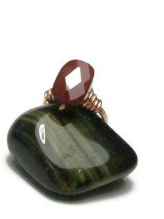 Australian Mookaite Faceted Stone Ring, Burgundy Wine with Copper, Size 6 by SplendidStones, $18.00