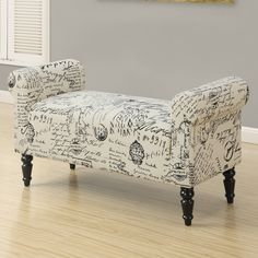Monarch Specialties Amery Vintage French Fabric Indoor Bench | from hayneedle.com