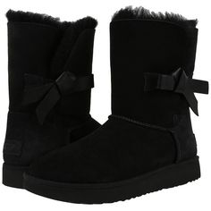 UGG Classic Knot Short (Black) Women's Shoes ($210) ❤ liked on Polyvore featuring shoes, boots, ankle booties, ankle boots, short black boots, black boots, faux fur boots and low heel ankle boots
