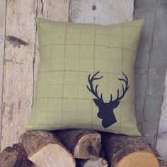 | Stag Cushions and Logs | #SoCosy #Stag #ThatsDarling #Irish #Tweed #Cushion #OpenFires #RecklessImage #Logs #Deer #Antlers #NorthernIreland