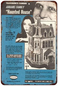 1966 Adams Family Haunted House Vintage Look Reproduction 8x12 Sign 8120542
