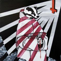 Badger monk surreal dark art original portrait - wicca occult satanic decor - inverted cross - black and white stripes art home wall decor
