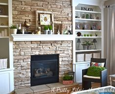 Built-in bookshelves on sides of fireplace / www.aprettylifeinthesuburbs.com