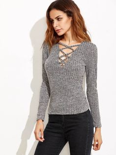 ad14c88c04 plunge crisscross marled knit ribbed t-shirt. #t-shirts #tops #women  #fashion