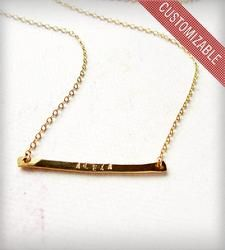 Personalized Tiny Name Necklace - One hand-forged 14K Gold Fill skinny banner is ready to be stamped with your name, nickname, monogram, sets of initials, etc.
