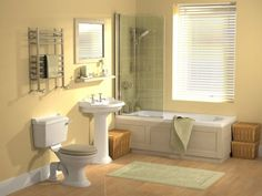 """Small bathroom ideas uk"" - these are small bathrooms!? Guess I need to remeasure mine using the metric system..."