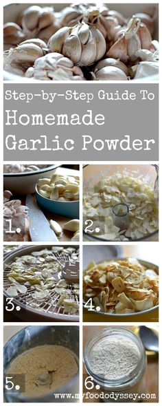 Vintage French Soul ~ Step-by-step guide to making homemade garlic powder. So easy and so versatile! Homemade Spices, Homemade Seasonings, Powder Recipe, Yummy Food, Tasty, Dehydrated Food, Dehydrator Recipes, Canning Recipes, Canning Tips