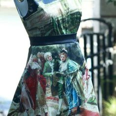 Designed fineart collection the afternoon tea middle ages court oil painting chic vintage gorgeous skirt - Thumbnail 3