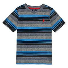 Christmas 2016 for our handsome grandson.  U.S. Polo Assn.® Marled Striped V-Neck Tee - Preschool Boys. COLOR: Navy. Size 5/6