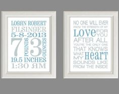 Nursery Art Print - Baby Boy Nursery Decor - Baby Birth Stats -  Gray And Blue - Set Of Two Prints