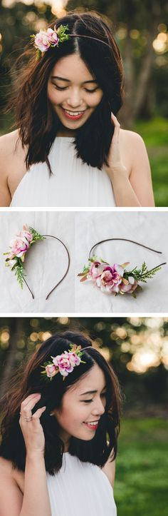 simple elegant summer rose blossom headband // creamy pink / bridal bridesmaid wedding floral headpiece flower crown fascinator accessory / Australian design / Christmas gift for her / birthday gift / handcrafted design / Etsy