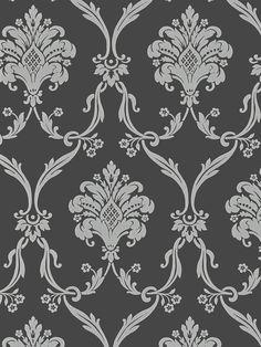 Silver on Dark Gray Victorian Damask Wallpaper