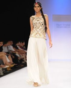 #Exclusivelyin, #IndianEthnicWear, #IndianWear, #Fashion, Ecru Mirror-work Choli with Flared Pants