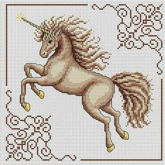 Unicorn cross stitch... no color chart available, just use the pattern chart as your color guide.. or choose your own colors...