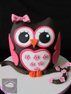 Dark Brown & Pink 3-D Girl Owl Cake