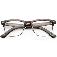 de8e683ce17 Vintage Inspired Horned Rim Half Frame Clear Lens Glasses 9623