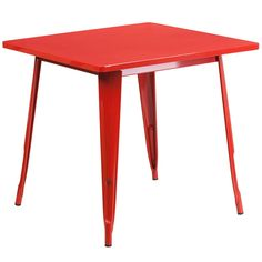 31.5'' Square Red Metal Indoor Table. Create a chic dining space with this industrial style table. The colorful table will add a retro-modern look to your home or eatery. This highly versatile Cafe Table is ideal for use in bistros, taverns, bars and restaurants. You can mix and match this style table with any metal chair, even using different colors. A thick brace underneath the top adds extra stability. The legs have protective rubber feet that prevent damage to flooring. The...